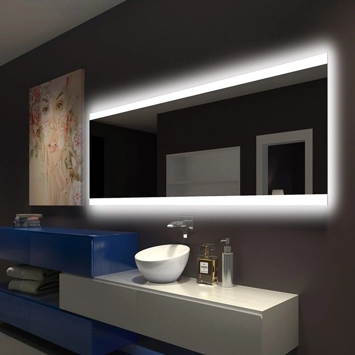 Illuminated Square LED Bathroom Mirror With Radio Backlit Lighted Vanity Mirror Wall Mount