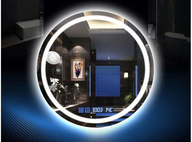 Muti - Functions Smart Anti Fog Bathroom Mirror With LED Light 750mm Diameter